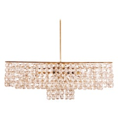 Midcentury Square Cut Crystal Chandelier