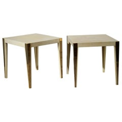 Midcentury Square Goat Skin and Brass Italian Side Table, 1950