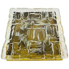 Midcentury Square Ice Glass Flushmount by J.T. Kalmar, 1960s