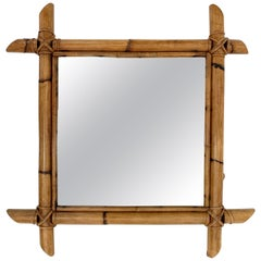 Midcentury Square Italian Mirror with Bamboo Woven Wicker Frame, 1970s