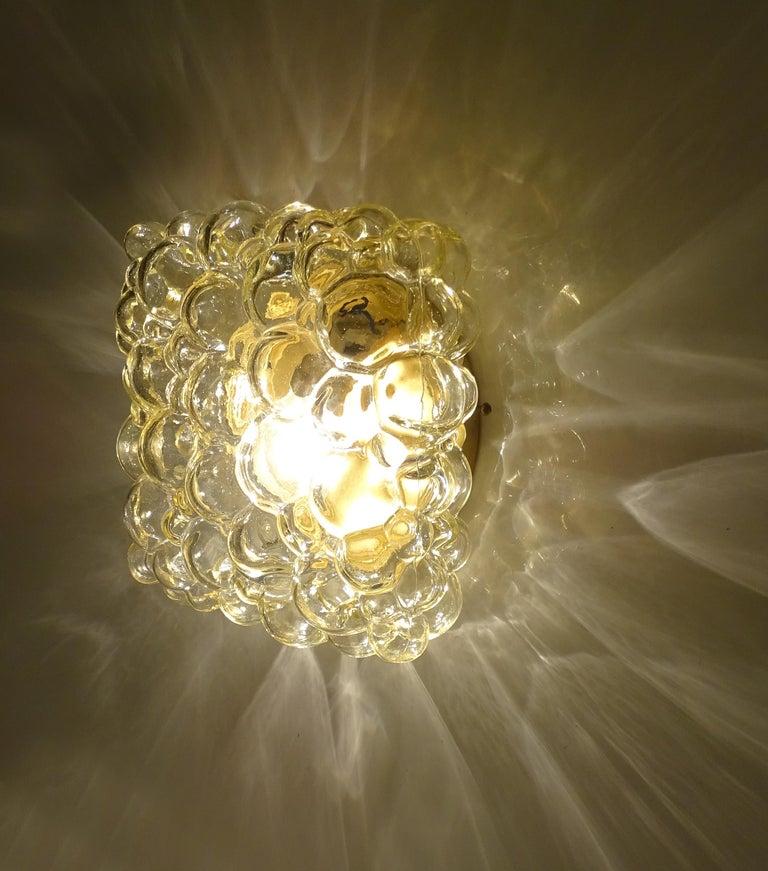 Midcentury Square Limburg Bubble Glass Sconce Flush Light, 1960s For Sale 3