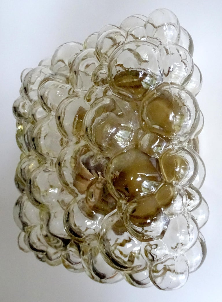 Midcentury Square Limburg Bubble Glass Sconce Flush Light, 1960s For Sale 4