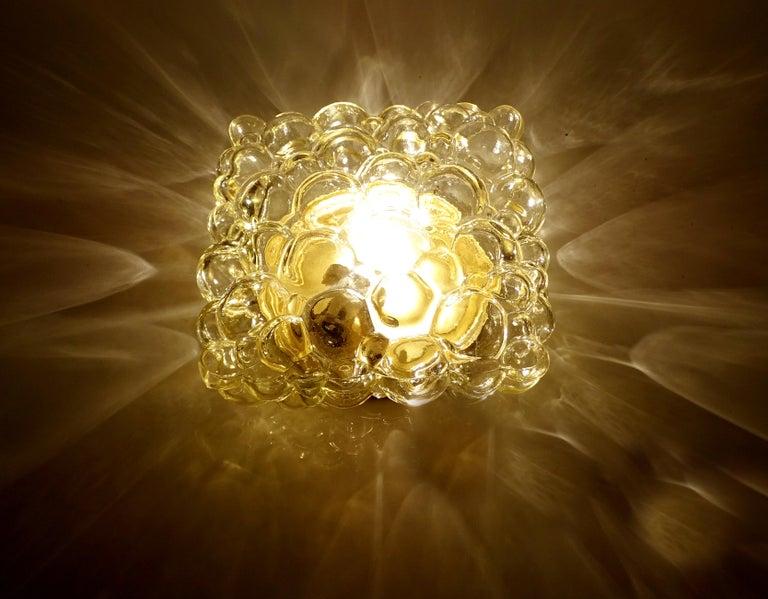 Midcentury Square Limburg Bubble Glass Sconce Flush Light, 1960s For Sale 5