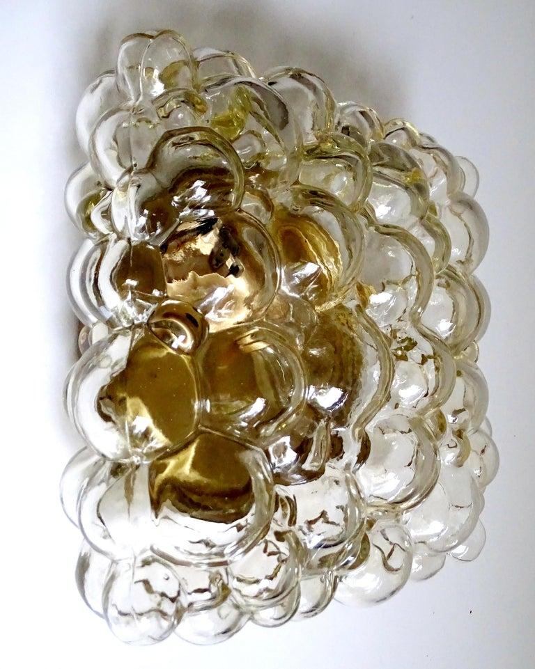 Midcentury Square Limburg Bubble Glass Sconce Flush Light, 1960s For Sale 6
