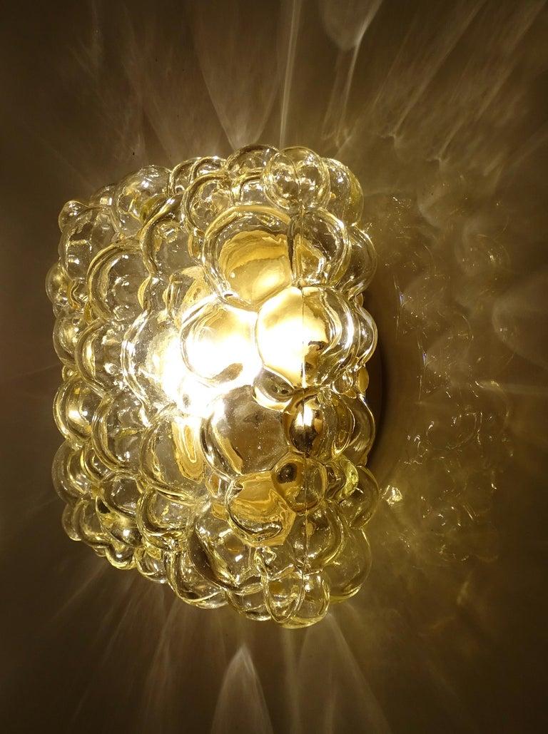 Midcentury Square Limburg Bubble Glass Sconce Flush Light, 1960s For Sale 7
