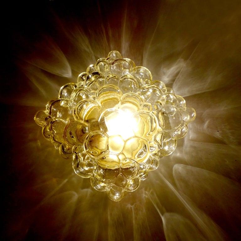 German Midcentury Square Limburg Bubble Glass Sconce Flush Light, 1960s For Sale
