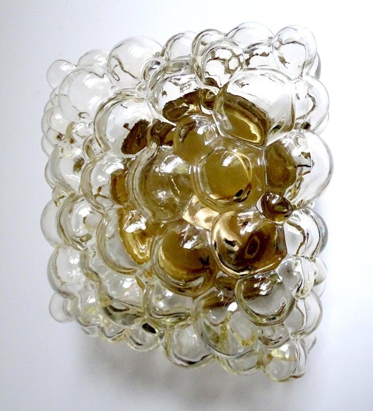 Midcentury Square Limburg Bubble Glass Sconce Flush Light, 1960s In Excellent Condition For Sale In Bremen, DE