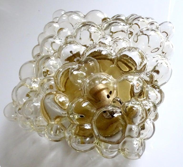 Blown Glass Midcentury Square Limburg Bubble Glass Sconce Flush Light, 1960s For Sale