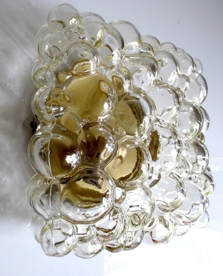 Midcentury Square Limburg Bubble Glass Sconce Flush Light, 1960s For Sale 2