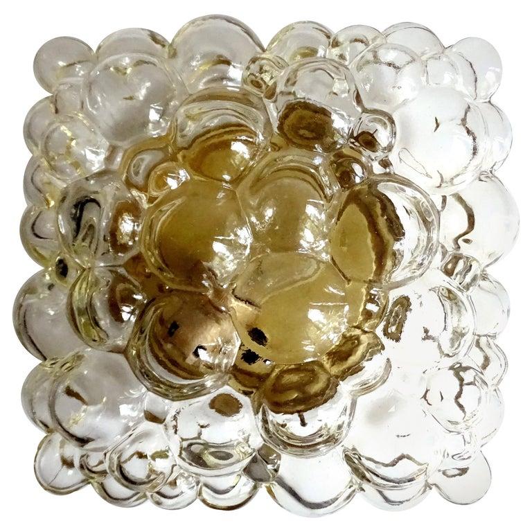 Midcentury Square Limburg Bubble Glass Sconce Flush Light, 1960s For Sale