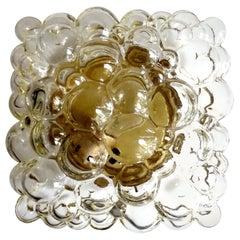 Midcentury Square Limburg Bubble Glass Sconce Flush Light, 1960s