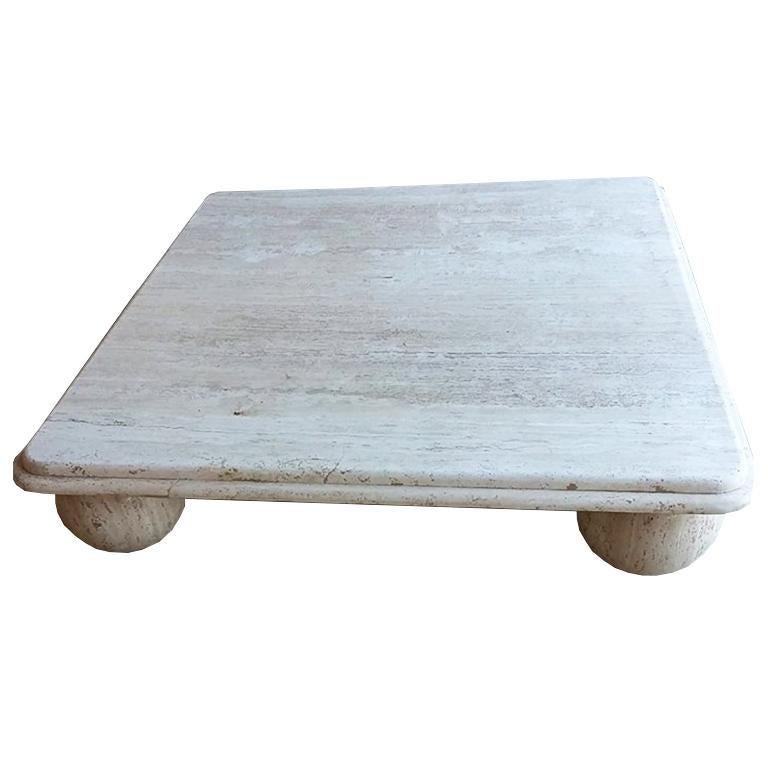 Midcentury Square Low Profile Travertine Stone Coffee Table Round Ball Legs