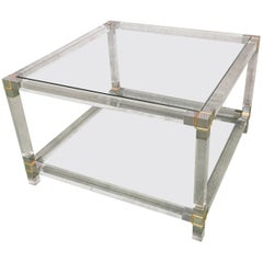 Midcentury Square Lucite Coffee Table with Chromed Metal Details