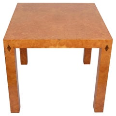 Midcentury Square Poplar Briar Italian Game or Coffee Table with Inlays, 1970s