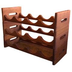 Midcentury Stackable Solid Teak Wine Rack