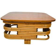 Midcentury Stacked Base Rattan Coffee Table Attributed to Paul Frankl