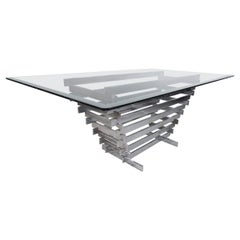 Midcentury Stacked Chrome Base Dining Table by Paul Mayen