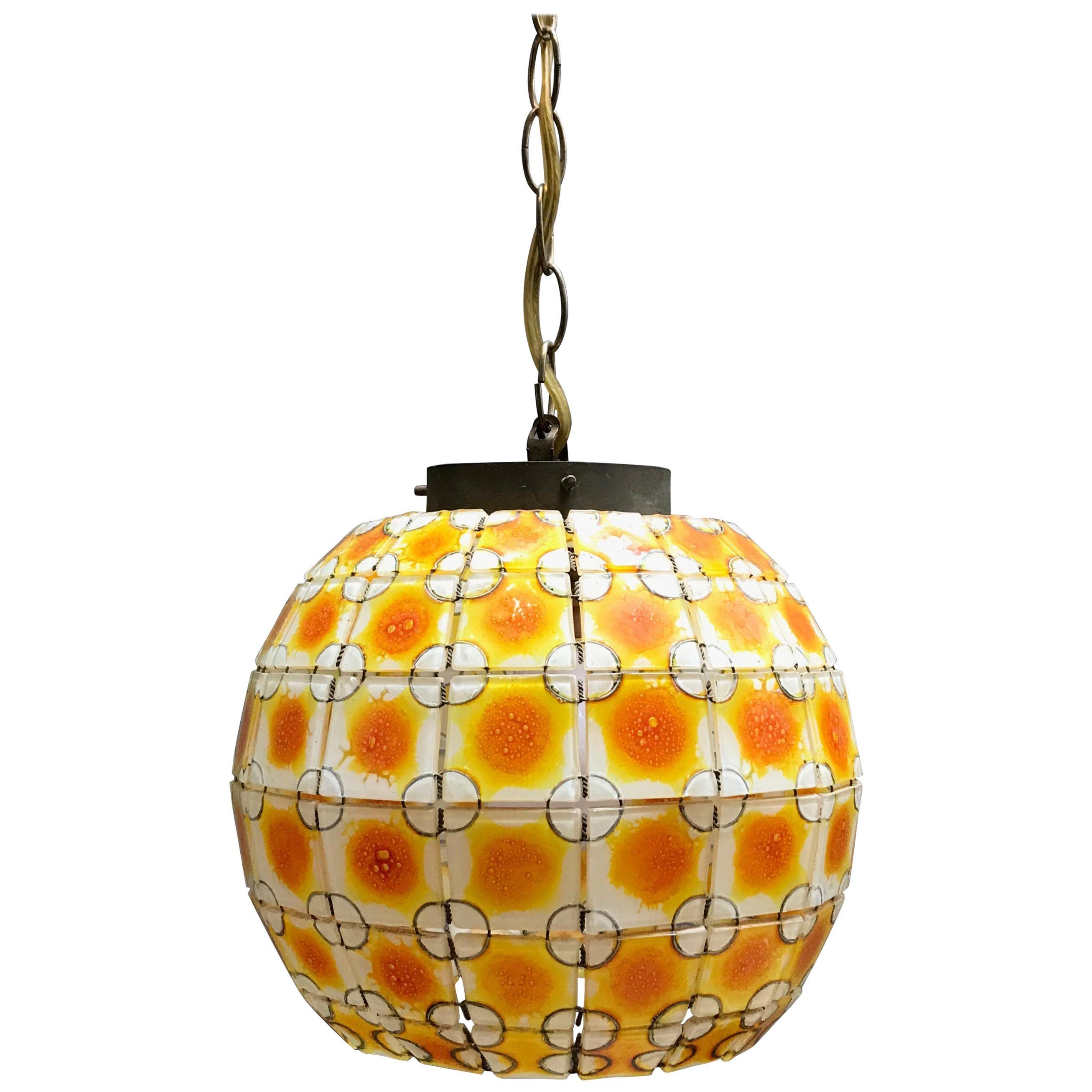 Midcentury Stain Glass Open Globe Pendant Light For Sale At 1stdibs