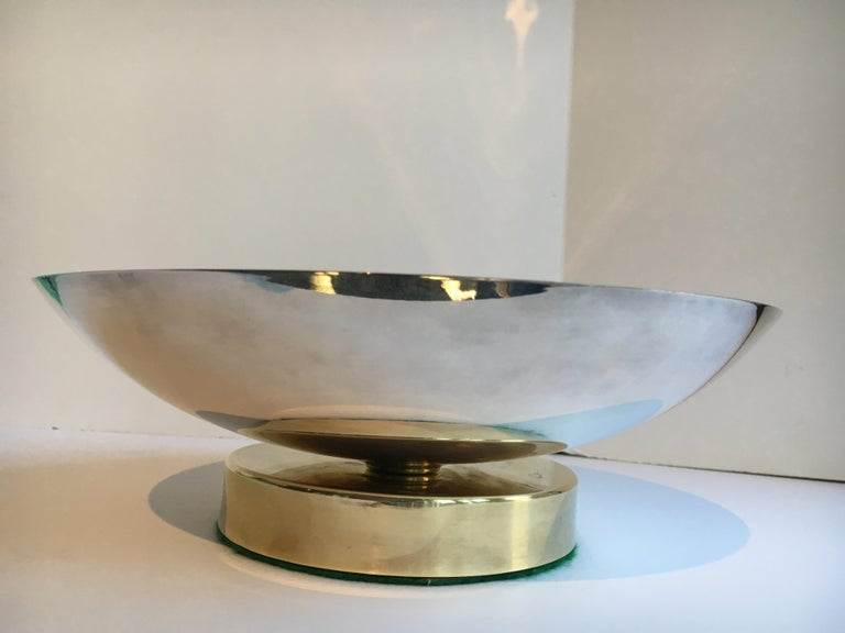 Mid-Century Modern Midcentury Stainless and Brass Footed Bowl For Sale