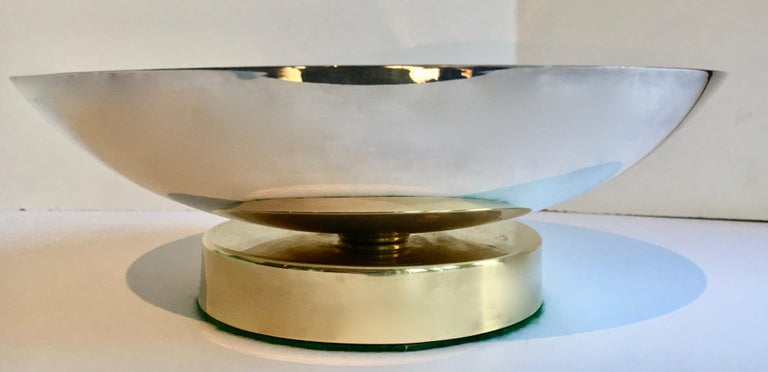 Midcentury Stainless and Brass Footed Bowl In Good Condition For Sale In Los Angeles, CA