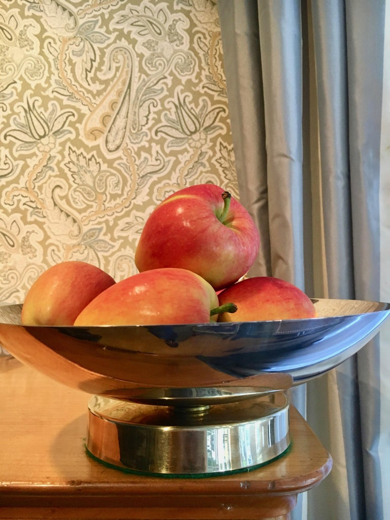 Midcentury Stainless and Brass Footed Bowl For Sale 3