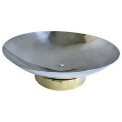 Midcentury Stainless and Brass Footed Bowl