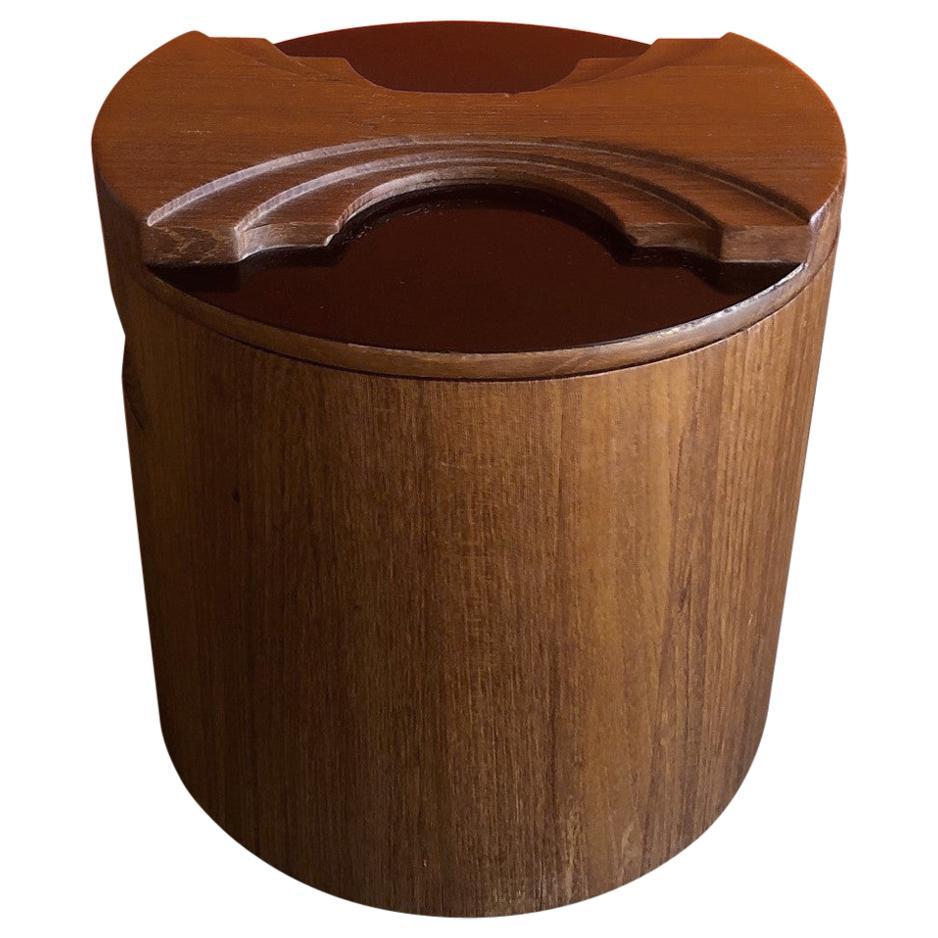 Midcentury Staved Teak Ice Bucket by Georges Briard