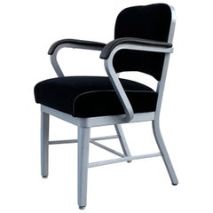 Midcentury Steel Tanker Armchair, Refinished in Bengal Silver and Black Velvet