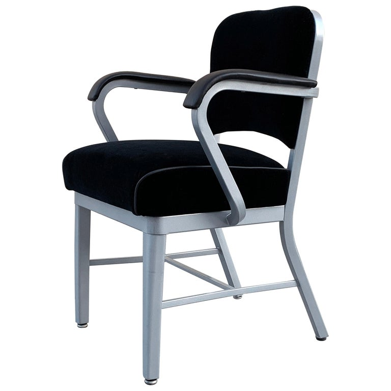Midcentury Steel Tanker Armchair, Refinished in Bengal Silver and Black Velvet For Sale
