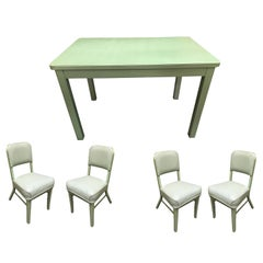 Midcentury Steelcase Tanker Dining Table and Chairs Set
