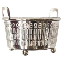 Midcentury Sterling Silver and Crystal Ice Bucket