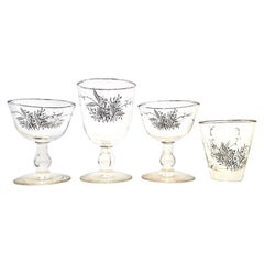 Midcentury Sterling Silver and Embossed Floral Motif Glass Drinks Set of 19