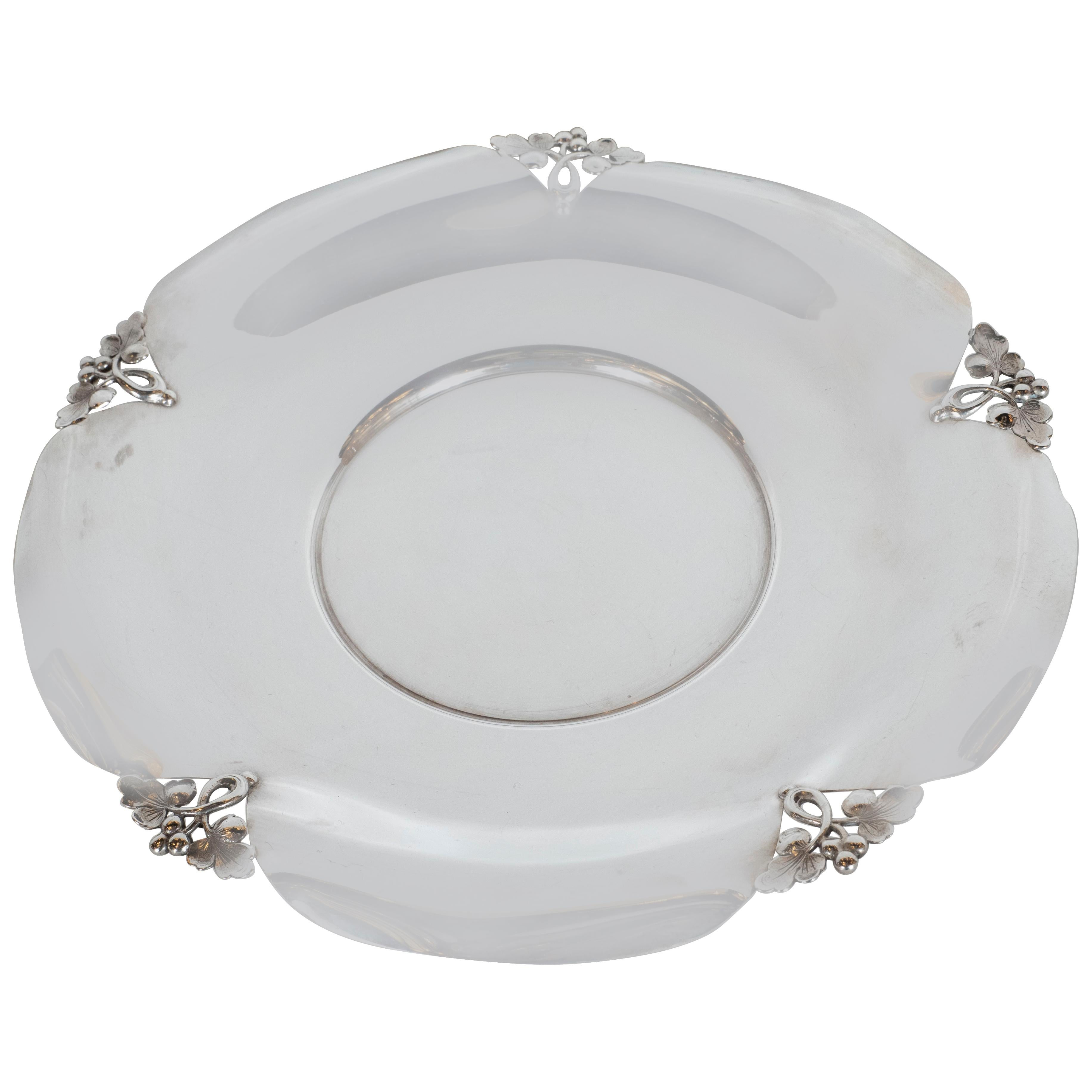 Midcentury Sterling Silver Decorative Dish with Foliate Tray by J.E. Caldwell Co