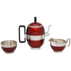 Midcentury Sterling Silver Red Enamel Three-Piece David Andersen Demitasse Set