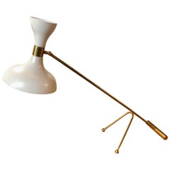 Midcentury Stilnovo Adjustable White Table Lamp in Brass, Italy, 1960s