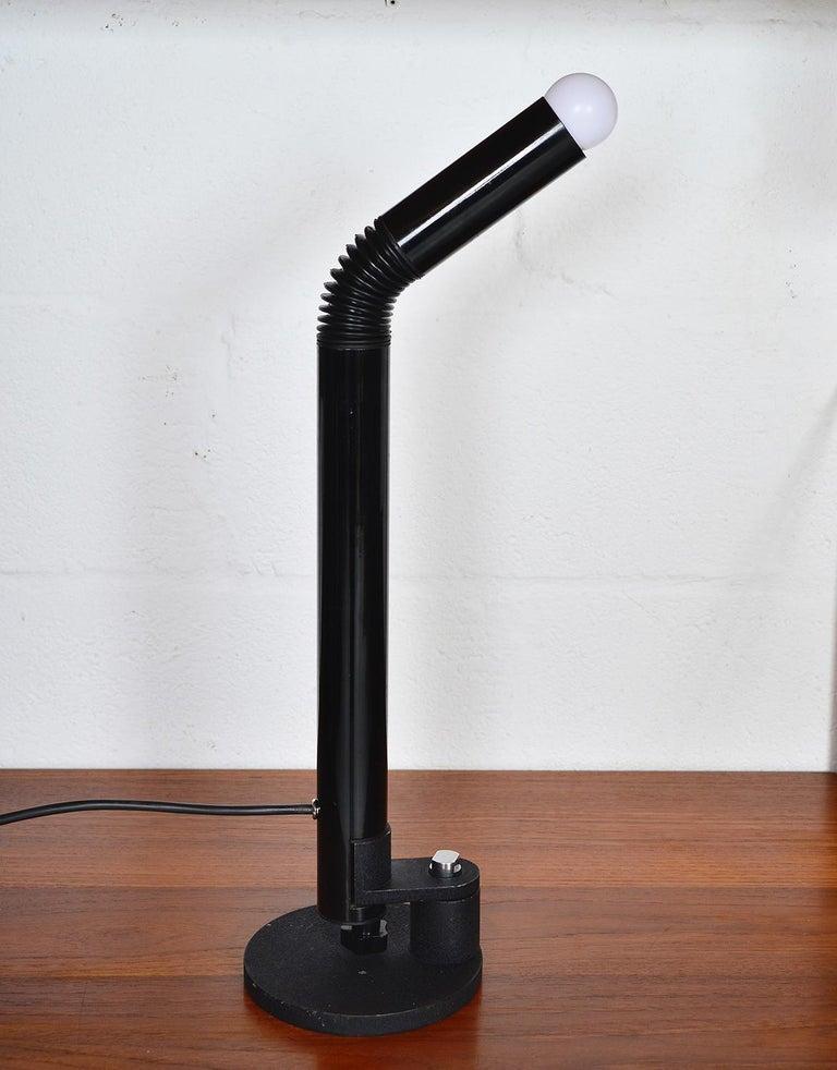 Cast Midcentury Stilnovo Italian Periscopio Black Desk Table Lamp by D&C Aroldi, 1968 For Sale