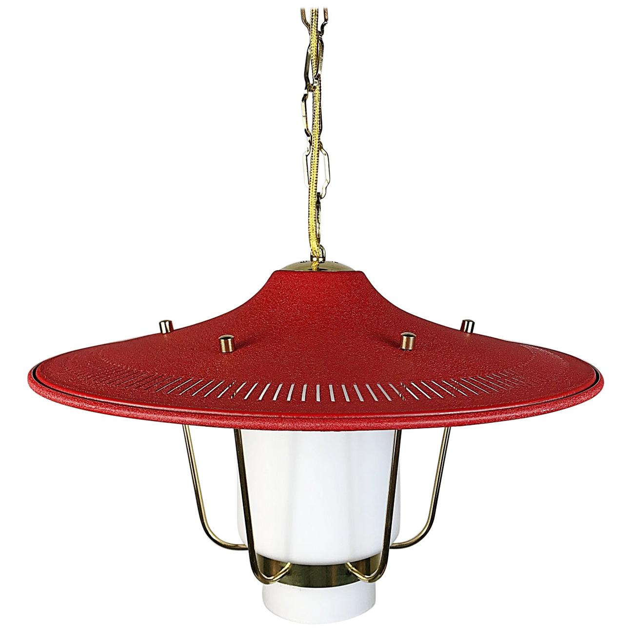 Midcentury Stilnovo Lantern Brass and Red Lacquered Shade, Italy, 1950s