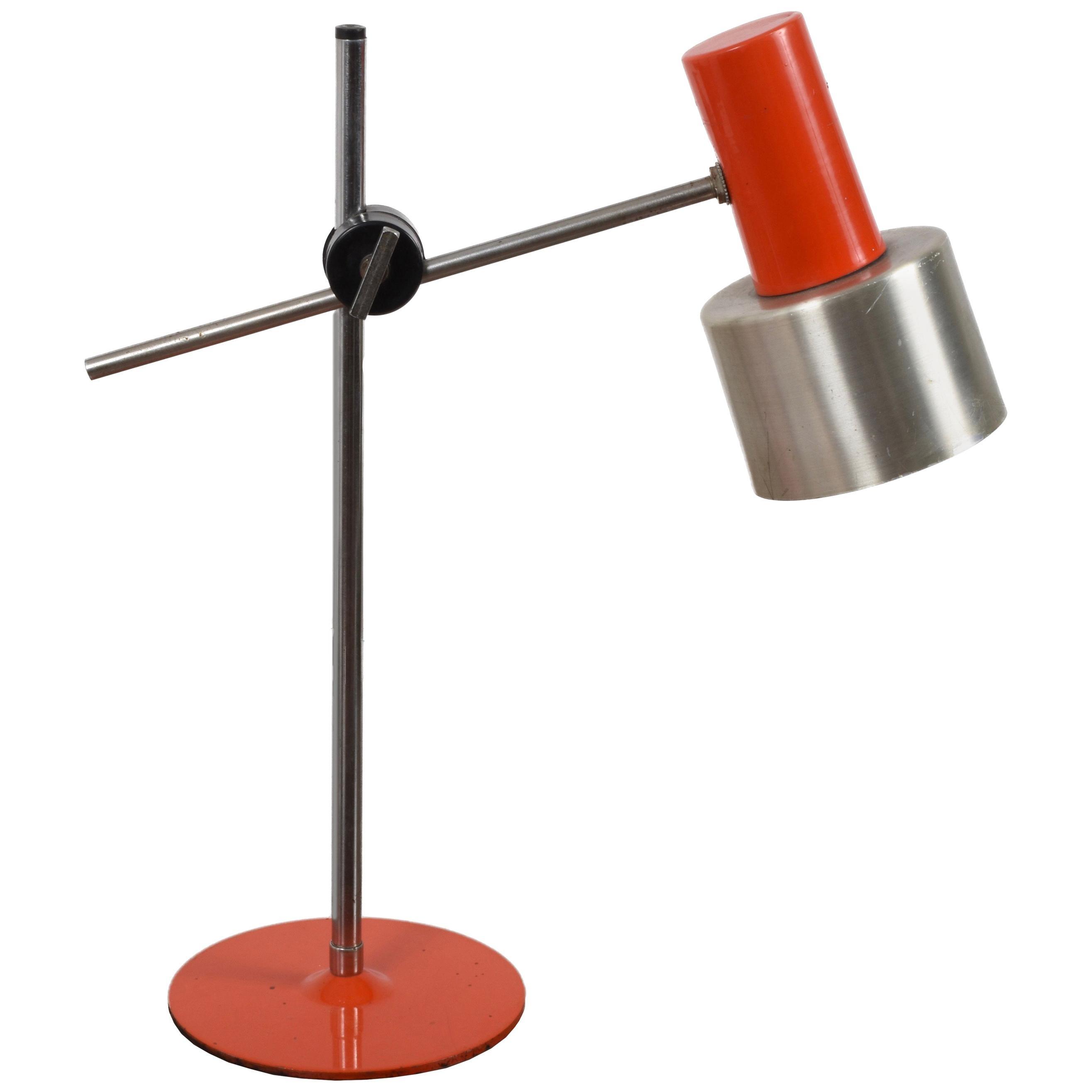 Midcentury Stilnovo Orange Metal and Aluminium Adjustable Table Lamp, 1960s
