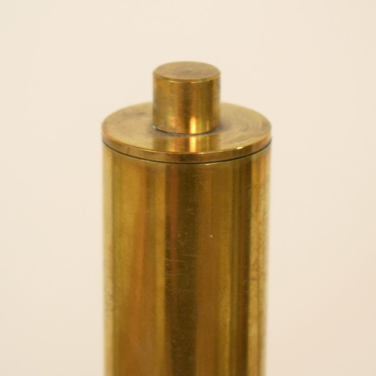 Midcentury Stilnovo Style Italian Floor Lamp Three-Arm Brass and Marble Black For Sale 3
