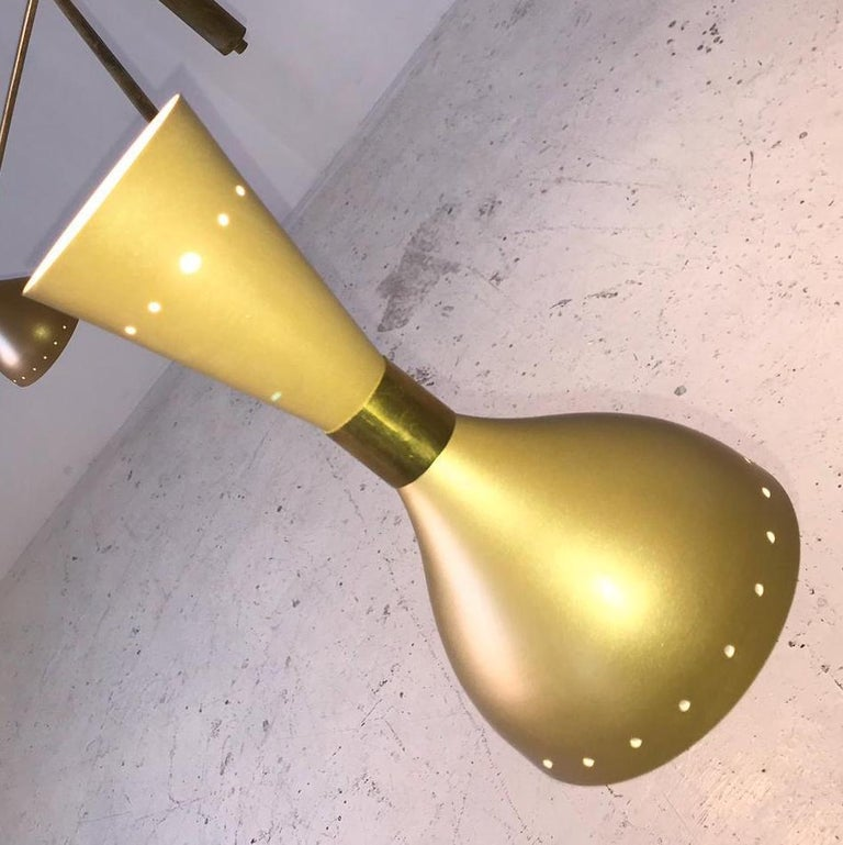 Midcentury Stilnovo Style Italian Floor Lamp Three-Arm Brass and Marble Black For Sale 7