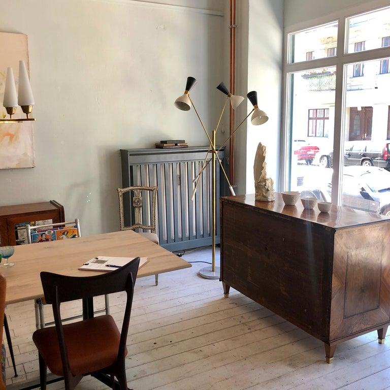 Mid-Century Modern Midcentury Stilnovo Style Italian Floor Lamp Three-Arm Brass and Marble Black For Sale