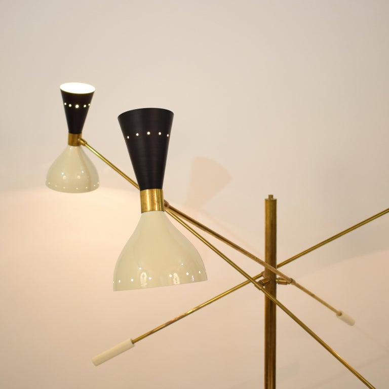 Lacquered Midcentury Stilnovo Style Italian Floor Lamp Three-Arm Brass and Marble Black For Sale