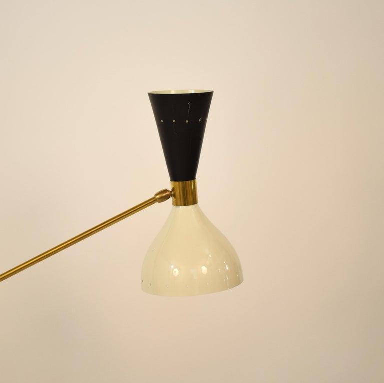 Contemporary Midcentury Stilnovo Style Italian Floor Lamp Three-Arm Brass and Marble Black For Sale
