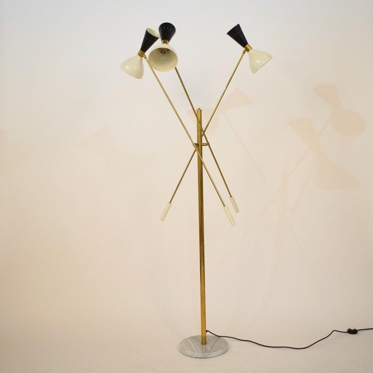 Metal Midcentury Stilnovo Style Italian Floor Lamp Three-Arm Brass and Marble Black For Sale