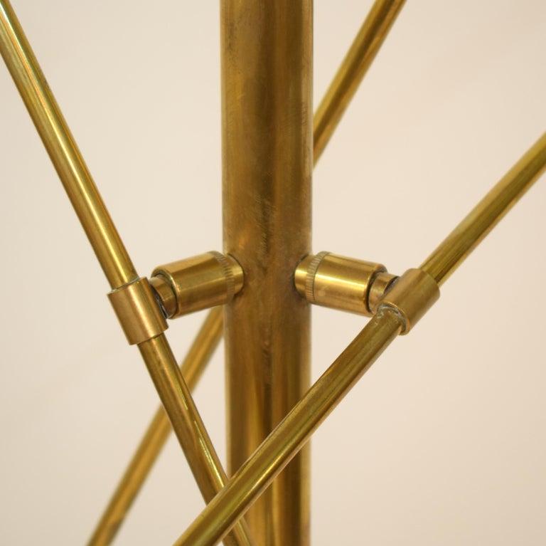 Midcentury Stilnovo Style Italian Floor Lamp Three-Arm Brass and Marble Black For Sale 2