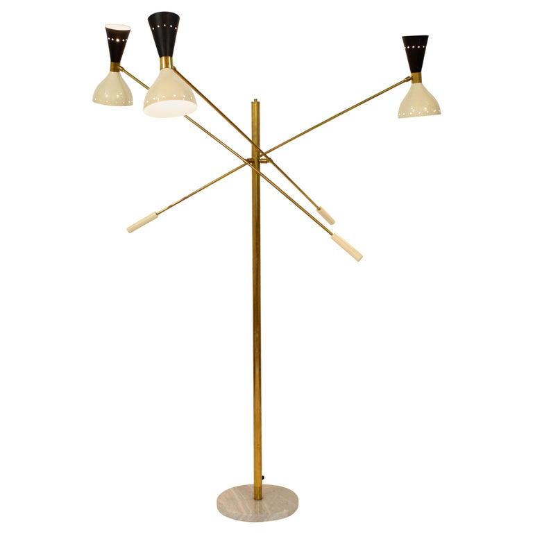Midcentury Stilnovo Style Italian Floor Lamp Three-Arm Brass and Marble Black For Sale
