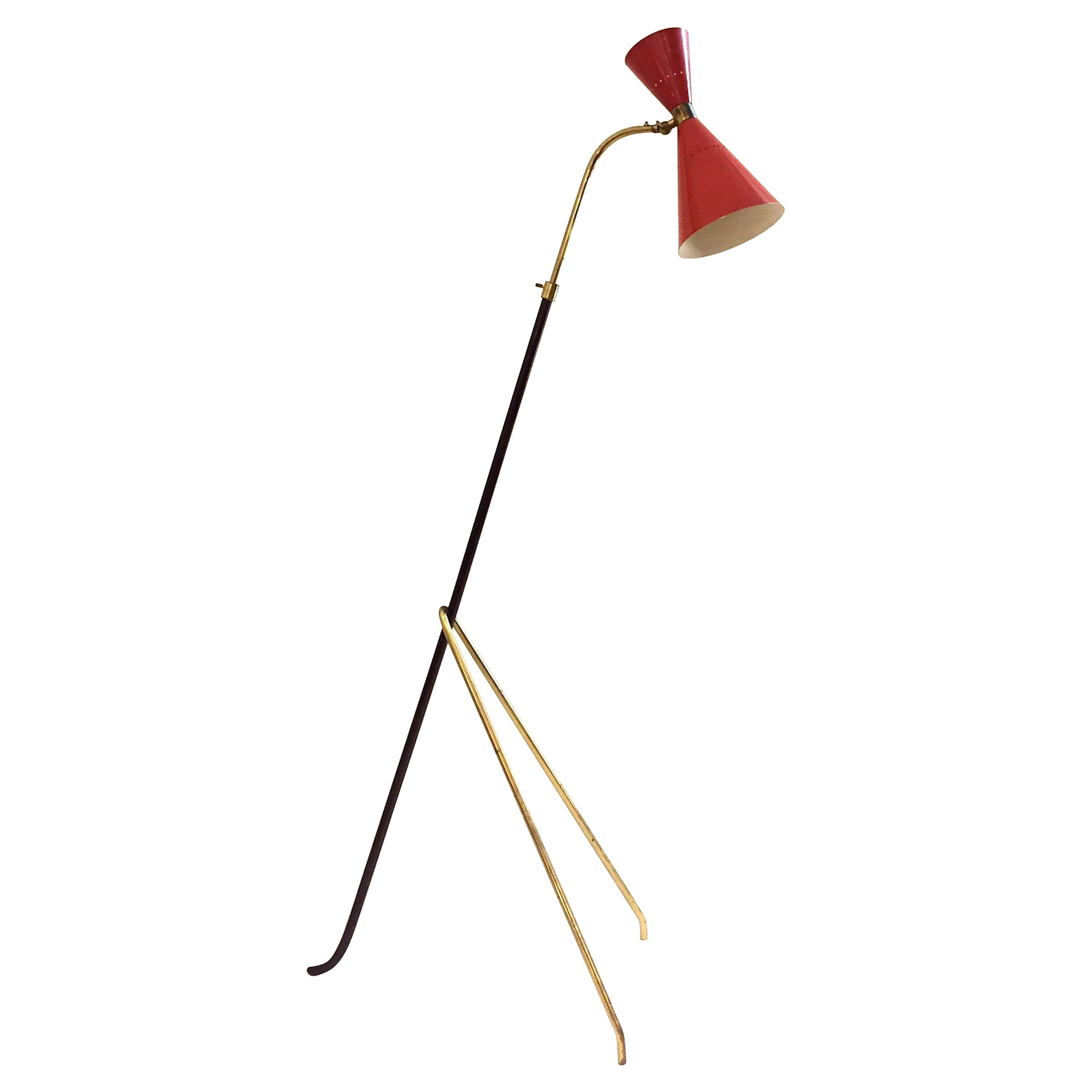 Midcentury Stilnovo Vintage Brass and Red Lacquered Adjustable Floor Lamp