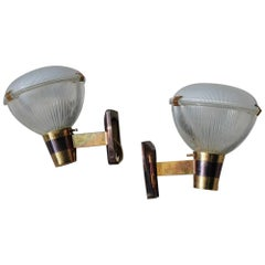 Midcentury Stilnovo Wall Sconces Brass Gold and Glass Italian Design 1950, Pair