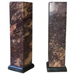 Stone Pillar Candleholder Pair, Chestnut Granite, Neoclassical 1960s Mid-century