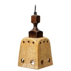 Midcentury Stoneware Brown Light Suspension French Lamp Design, circa 1970